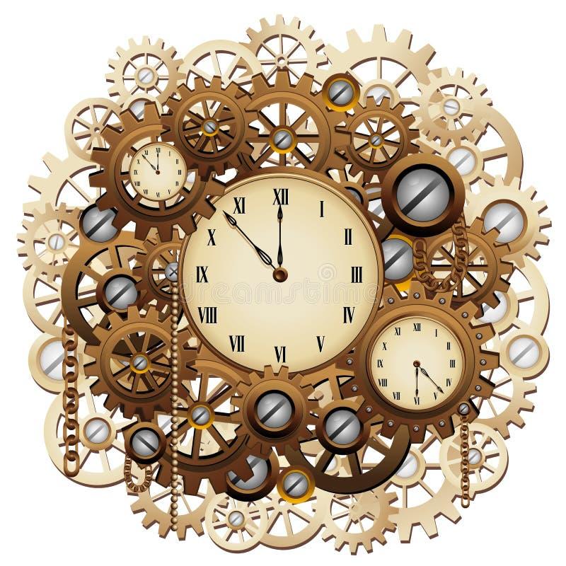 Часы Steampunk зацепляют винтажное ретро искусство векторной графики механизма иллюстрация штока
