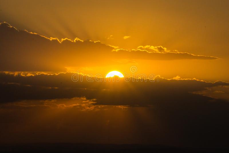 Час захода солнца в Порту-Алегри, Rio Grande do Sul, Бразилии стоковое фото rf