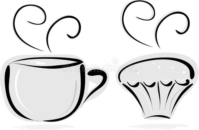Чашек чаю и торт бесплатная иллюстрация