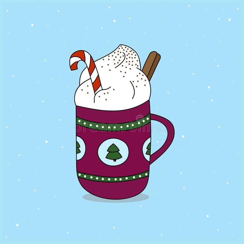 Cup of hot chocolate with candy cane, whipped cream and cinnamon roll. royalty free illustration