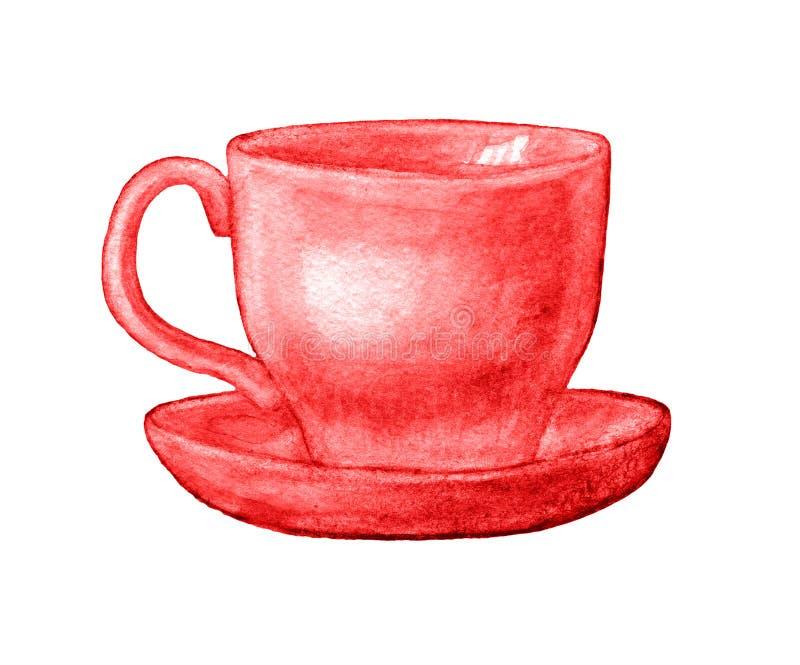 Чашка акварели тройника или кофе иллюстрация вектора