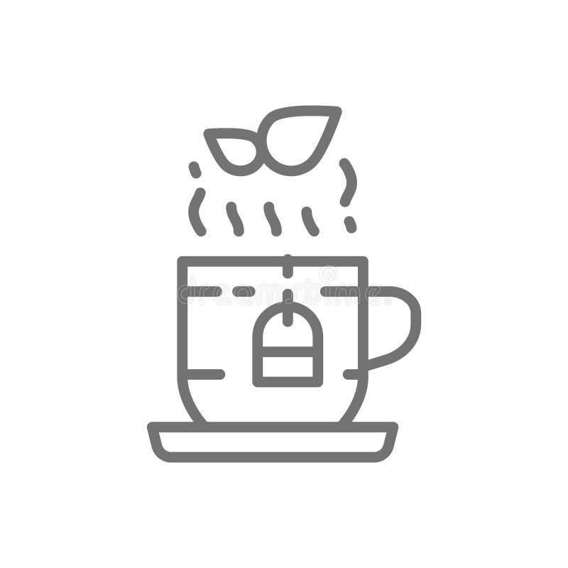 Чашка английской линии значка травяного чая иллюстрация штока