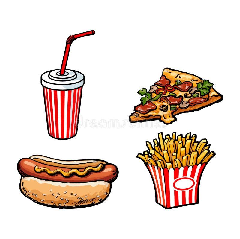 Чашка безалкогольного напитка фрая картошки вектора, пицца, хот-дог бесплатная иллюстрация