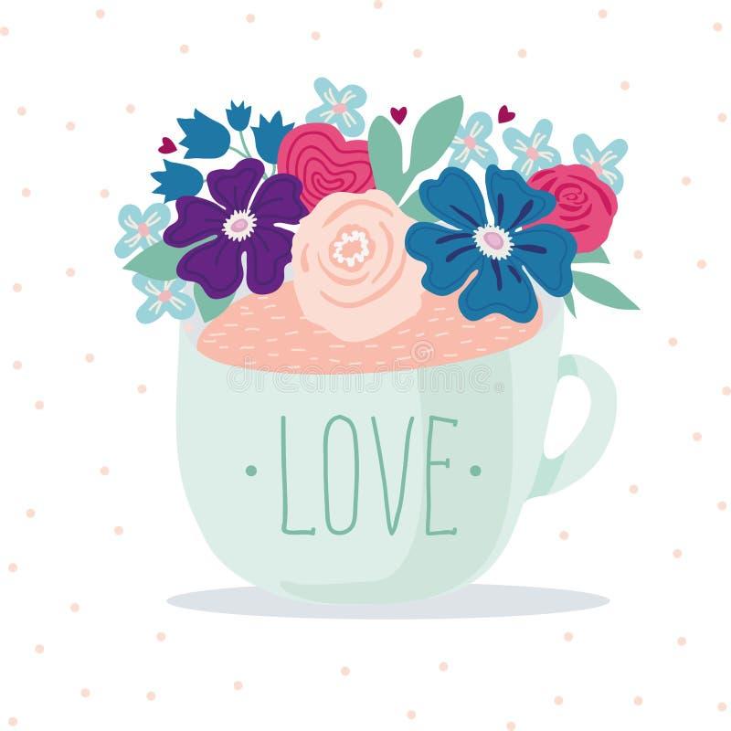 Чашка бирюзы при влюбленность надписи, украшенная с флористическим оформлением Славная иллюстрация Letthering иллюстрация штока