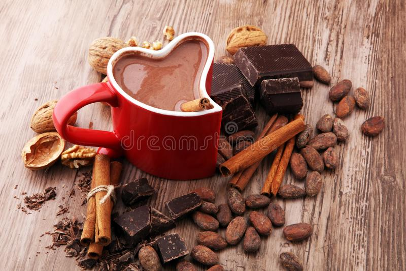 Чашка горячего шоколада, ручек циннамона, гаек и шоколада стоковая фотография
