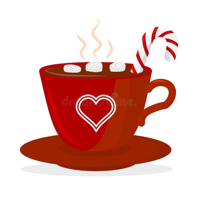 Чашка горячего шоколада с зефиром и леденцом на палочке, красными с сердцами Элемент дизайна рождественской открытки Изолированны иллюстрация штока