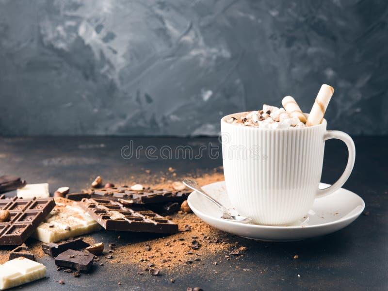 Чашка горячих какао или кофе капучино или latte стоковое изображение rf