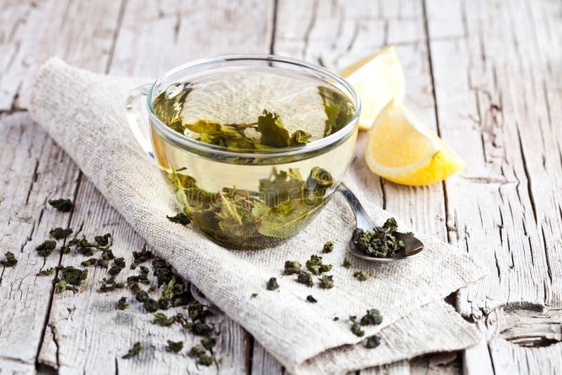 Чашка зеленого чая и лимона стоковые фотографии rf