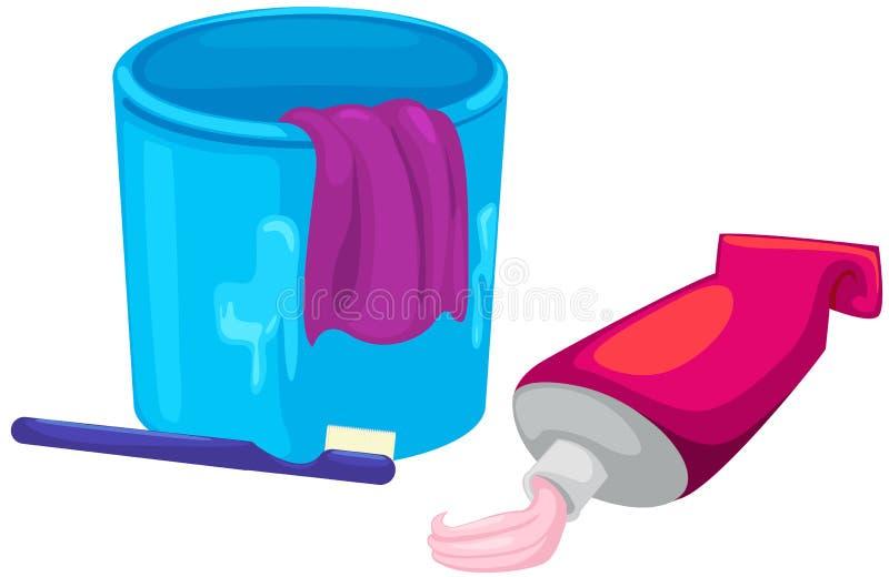 Чашка, зубная щетка и зубная паста иллюстрация вектора