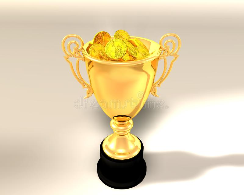Чашка и монетки трофея стоковое изображение