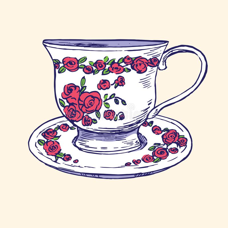 Чашка и поддонник с красными розами и листьями орнаментируют, вручают вычерченный doodle, простой эскиз в стиле искусства попа, и иллюстрация штока