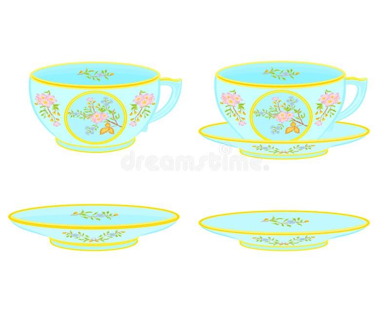 Чашка и поддонник чая фарфора с цветочным узором иллюстрация штока