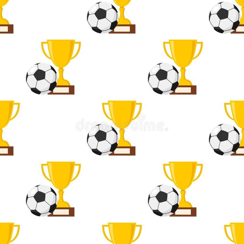 Чашка и футбол или футбольный мяч безшовные иллюстрация вектора