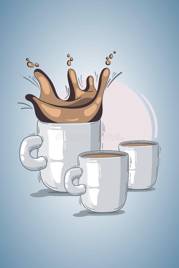 Чашка иллюстрации вектора кофе или чай с брызгают светлая предпосылка, розовый круг doodle, шарж, стиль эскиза концепция для re иллюстрация штока