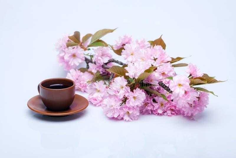 Чашка кофе в цветках стоковое изображение