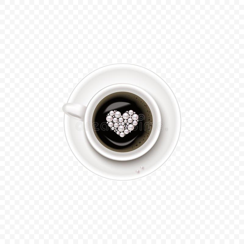 Чашка кофе и поддонник, взгляд сверху, реалистическая чашка вектора с сердцем в жемчуге иллюстрация штока