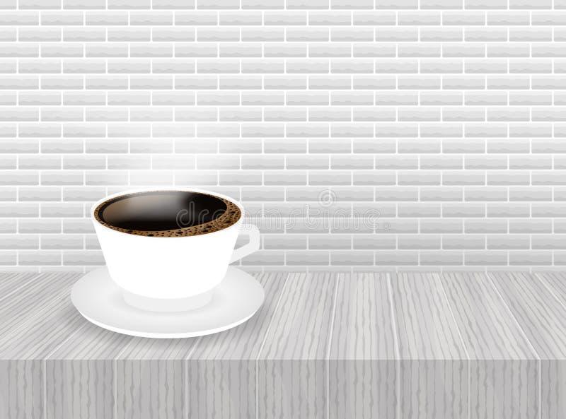 Чашка кофе и поддонник, реалистические r иллюстрация вектора