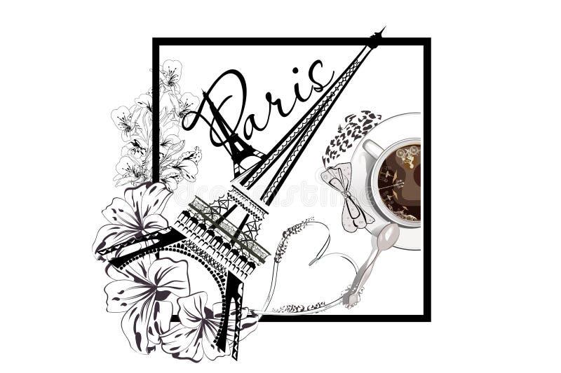 Чашка кофе и Эйфелева башня с цветками бесплатная иллюстрация