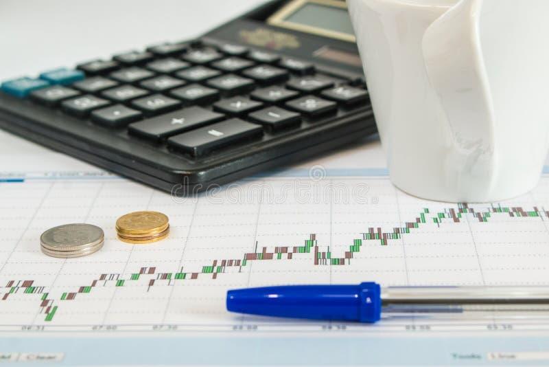 Чашка кофе, калькулятор, монетки, ручка в рабочем месте стоковое изображение