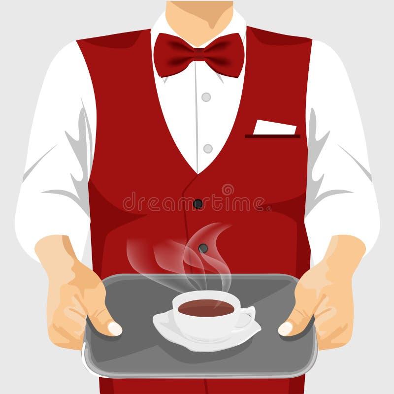 Чашка кофе кельнера служа на серебряном подносе бесплатная иллюстрация