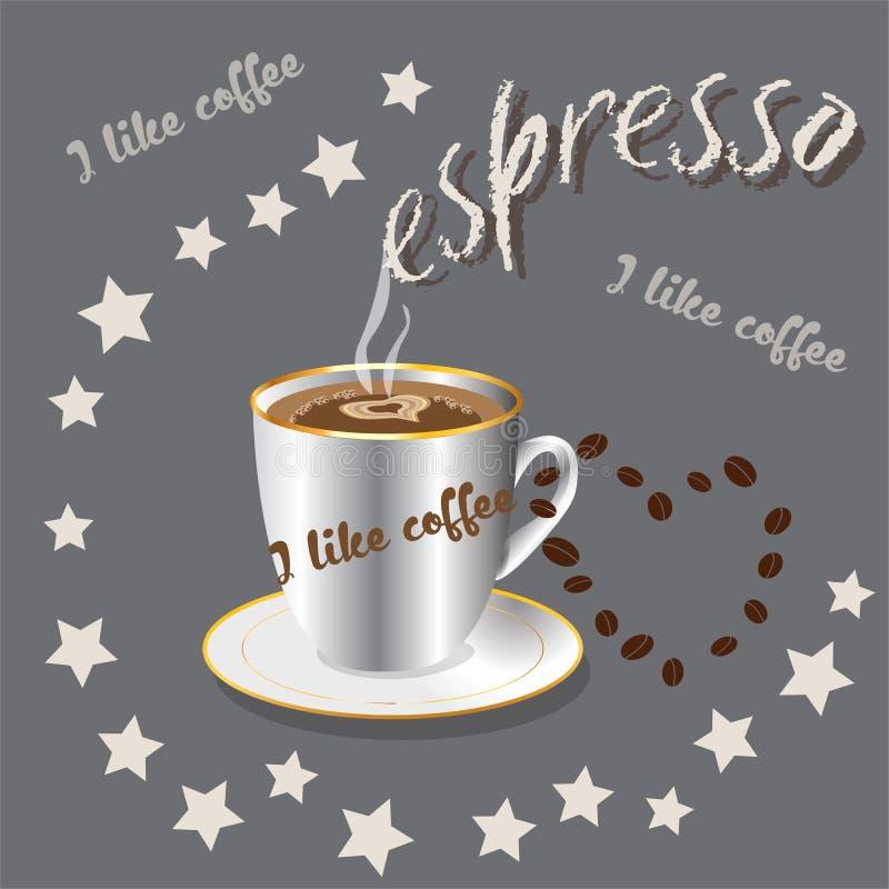 Чашка кофе на серой предпосылке espresso Естественный кофе в 3D-image иллюстрация вектора