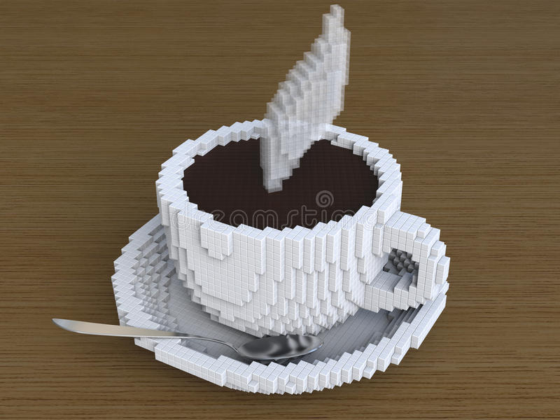 Чашка кофе пиксела, кофе pixelate, цифрового кофе, кофейной чашки искусства пиксела стоковые фото