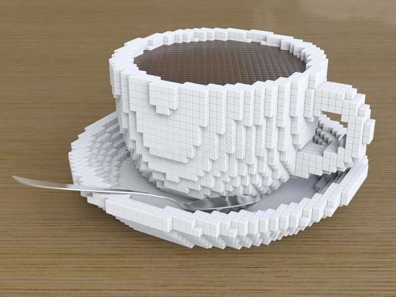 Чашка кофе пиксела, кофе pixelate стоковые изображения rf