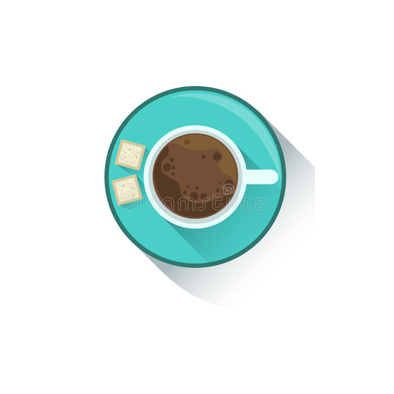 Чашка кофе с 2 кубами элемента стола работника офиса сахара, части инструментов рабочего места и неподвижного собрания  иллюстрация штока
