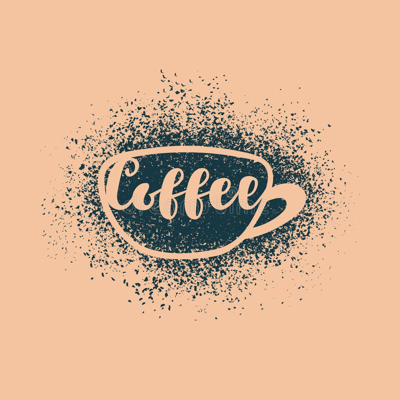 Чашка кофе с надписью иллюстрация штока