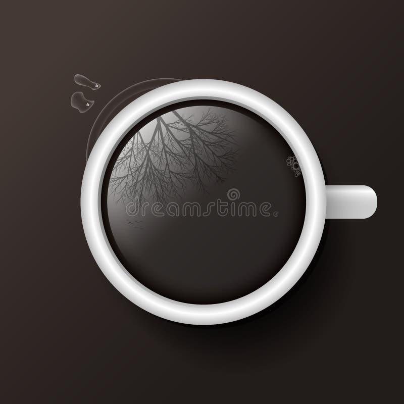 Чашка кофе с отражением взгляд сверху дерева стоковые фотографии rf