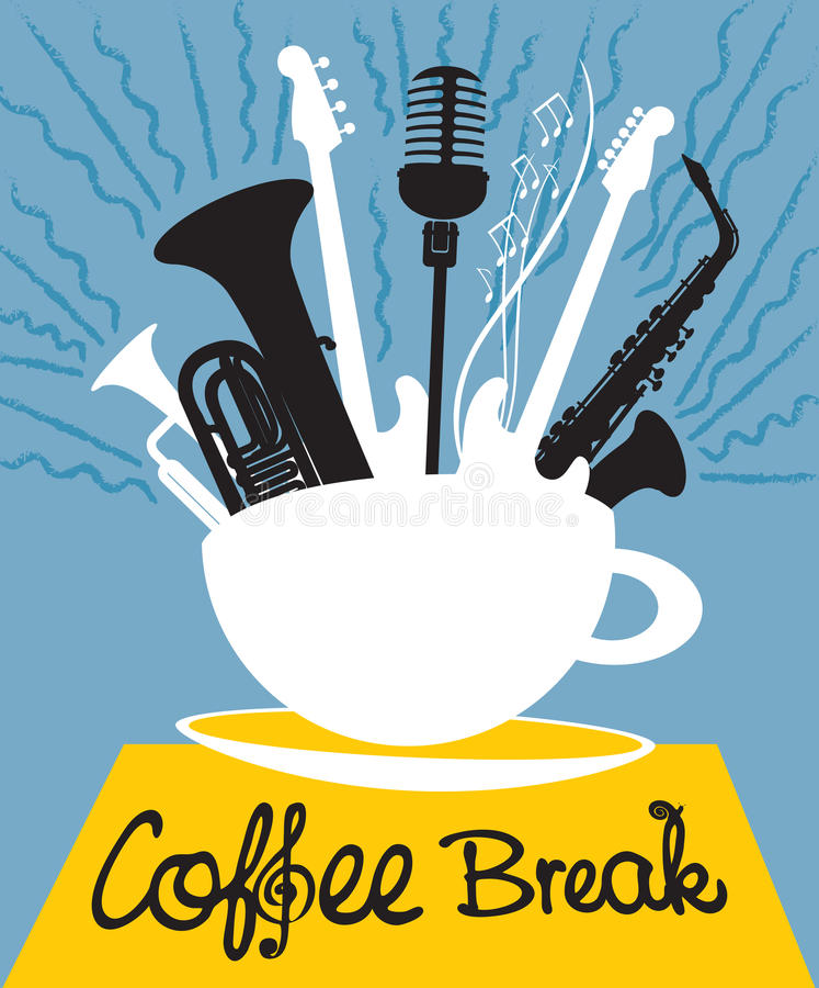 Чашка кофе с различными музыкальными инструментами бесплатная иллюстрация