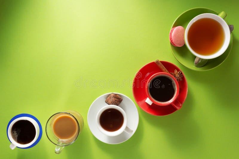 Чашка кофе, чай и какао стоковая фотография rf