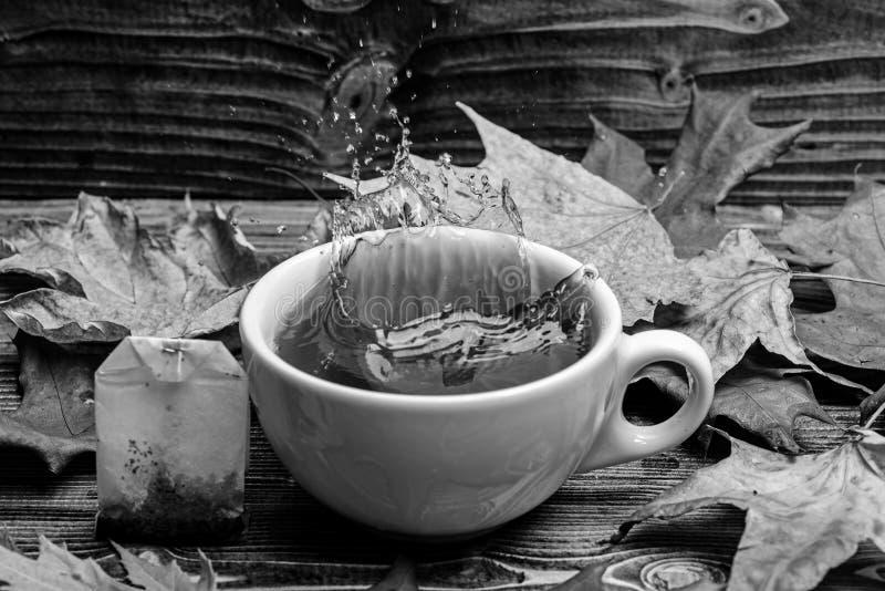 Чашка лить с водой или чаем с брызгает на темной деревянной предпосылке Кружка лить с жидкостью с брызгает и падает стоковые фотографии rf