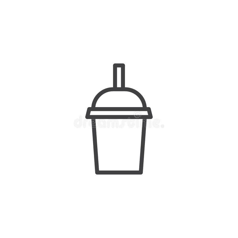 Чашка молочного коктейля с линией значком соломы бесплатная иллюстрация