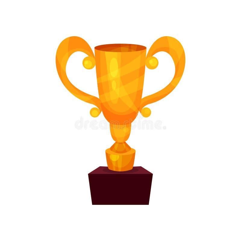 Чашка на постаменте, иллюстрация победителя вектора шаржа золотого первого места призовая иллюстрация вектора
