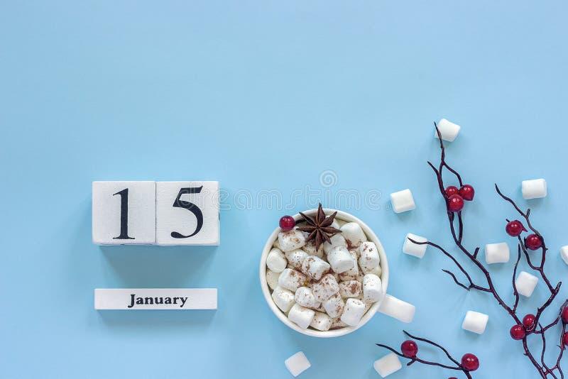 Чашка 15-ое января календаря какао, зефиров и ягод ветви стоковые фото