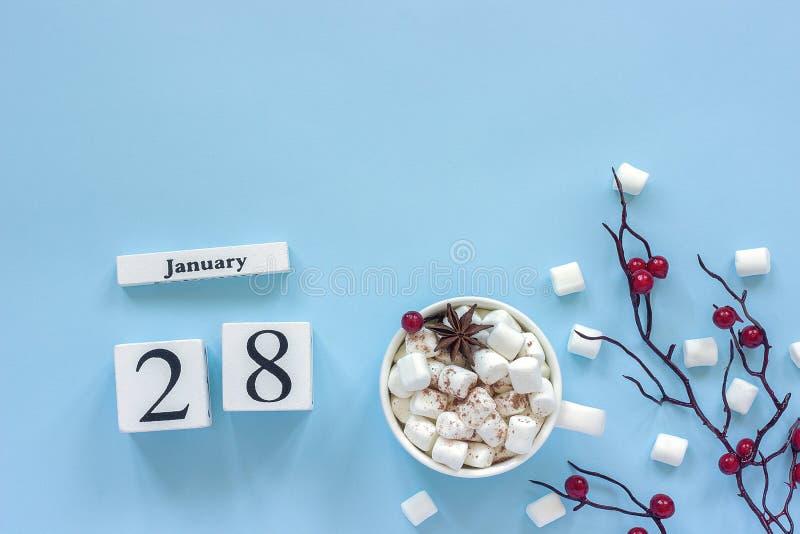 Чашка 28-ое января календаря какао, зефиров и ягод ветви стоковые изображения