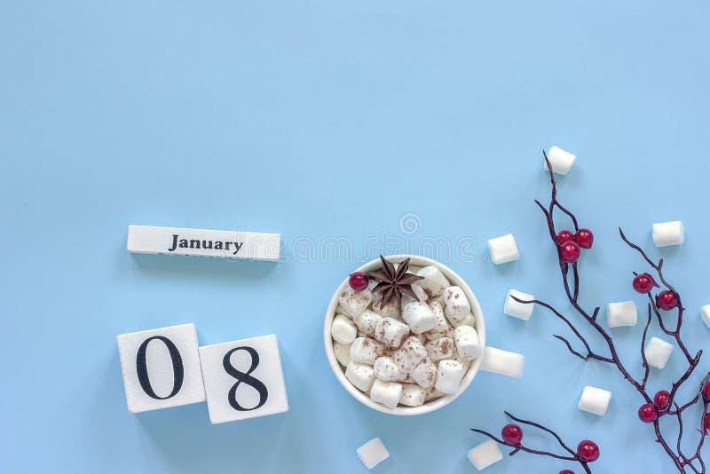 Чашка 8-ое января календаря какао, зефиров и ягод ветви стоковое изображение rf