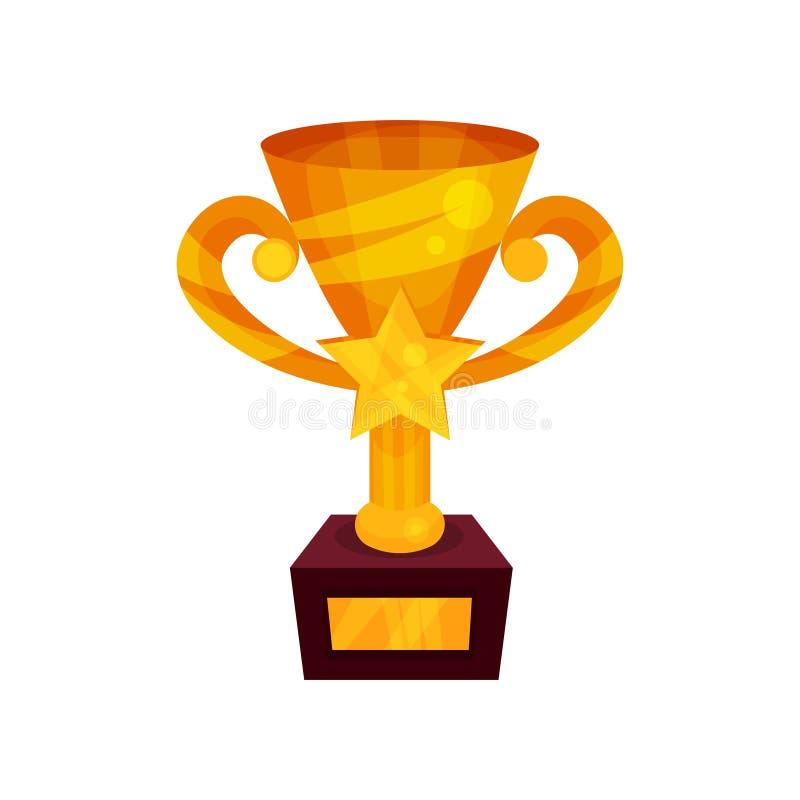 Чашка победителя золота с звездой на постаменте, иллюстрацией вектора шаржа золотого первого места призовой иллюстрация вектора