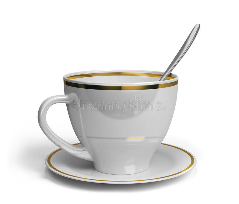 Чашка, поддонник и ложка иллюстрация вектора