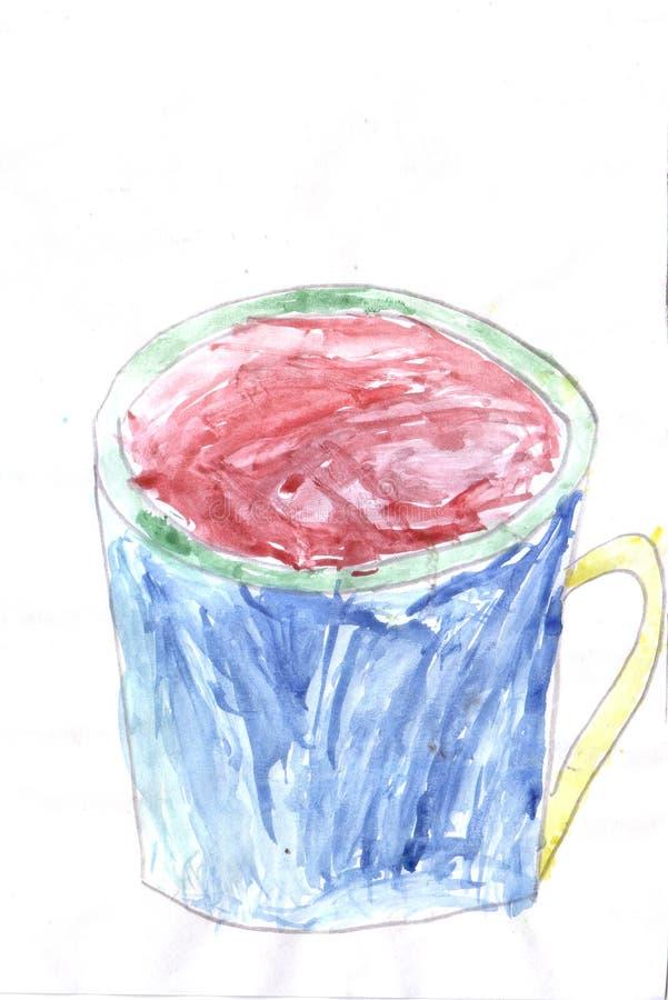 Чашка ребенка рисуя голубая бесплатная иллюстрация
