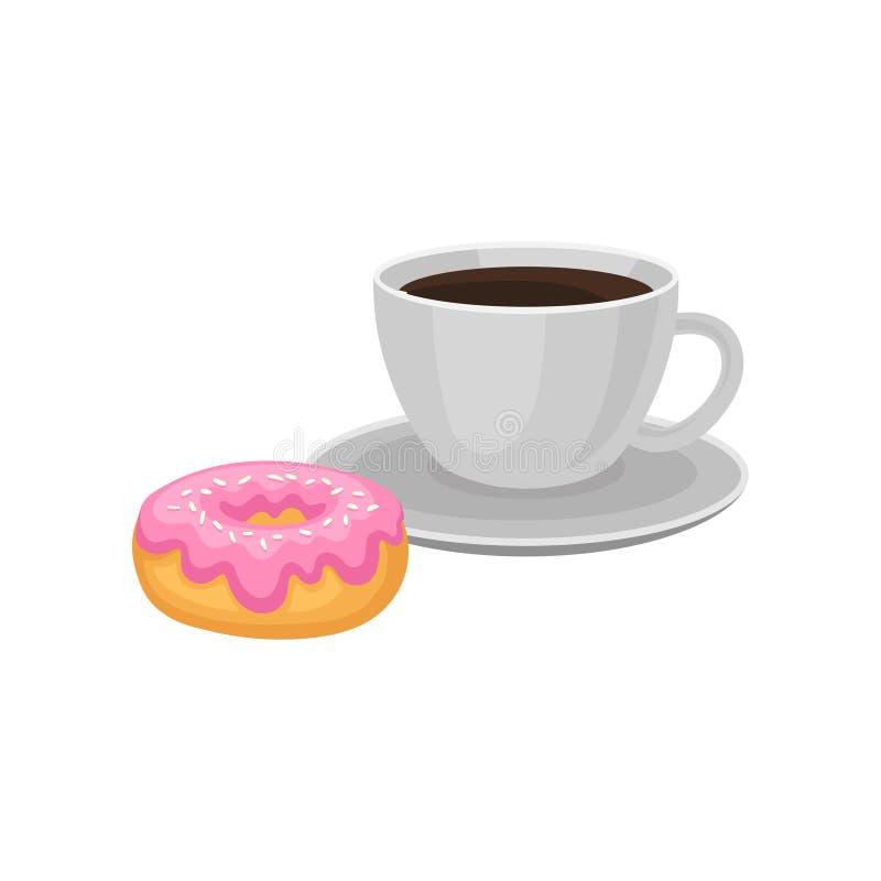 Чашка свежего черного кофе и сладостного донута с розовой поливой и брызгает Вектор аппетитного завтрака плоский для меню или иллюстрация вектора