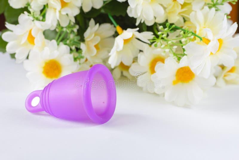 Чашка силикона менструальная стоковое фото