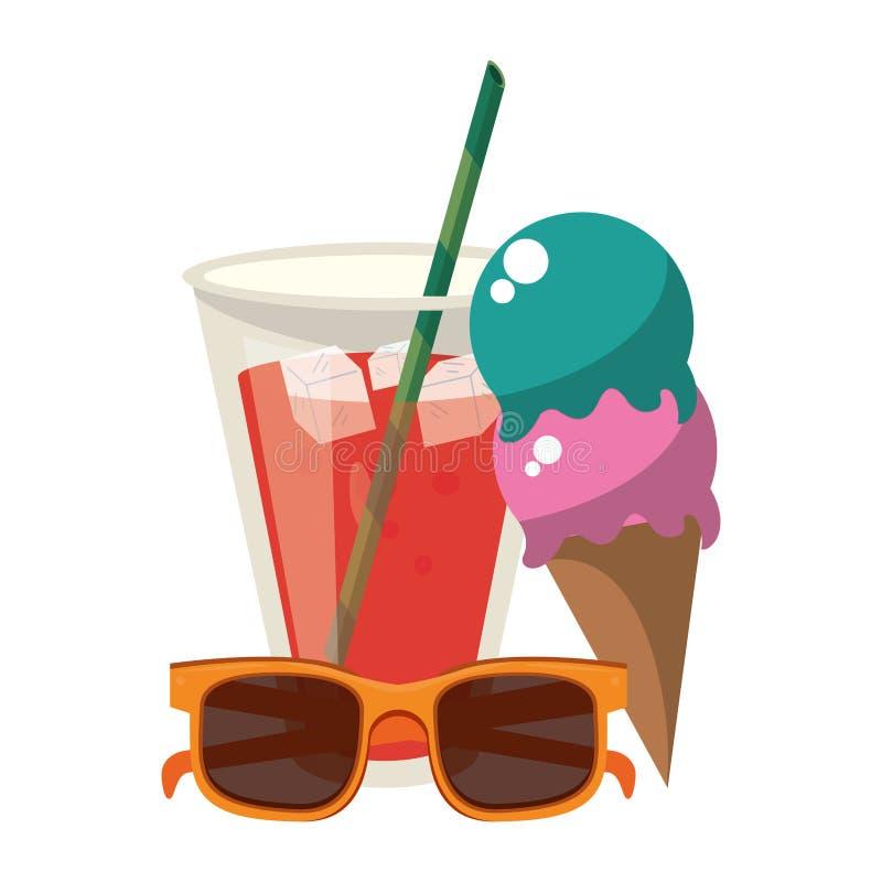 Чашка сока мороженого лета и мультфильм солнечных очков бесплатная иллюстрация