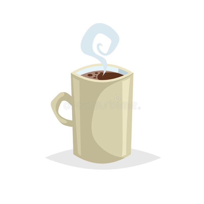 Чашка стиля шаржа с горячим питьем Кофе или чай Ультрамодный декоративный дизайн Большой для меню кафа Бежевая кружка с паром бесплатная иллюстрация