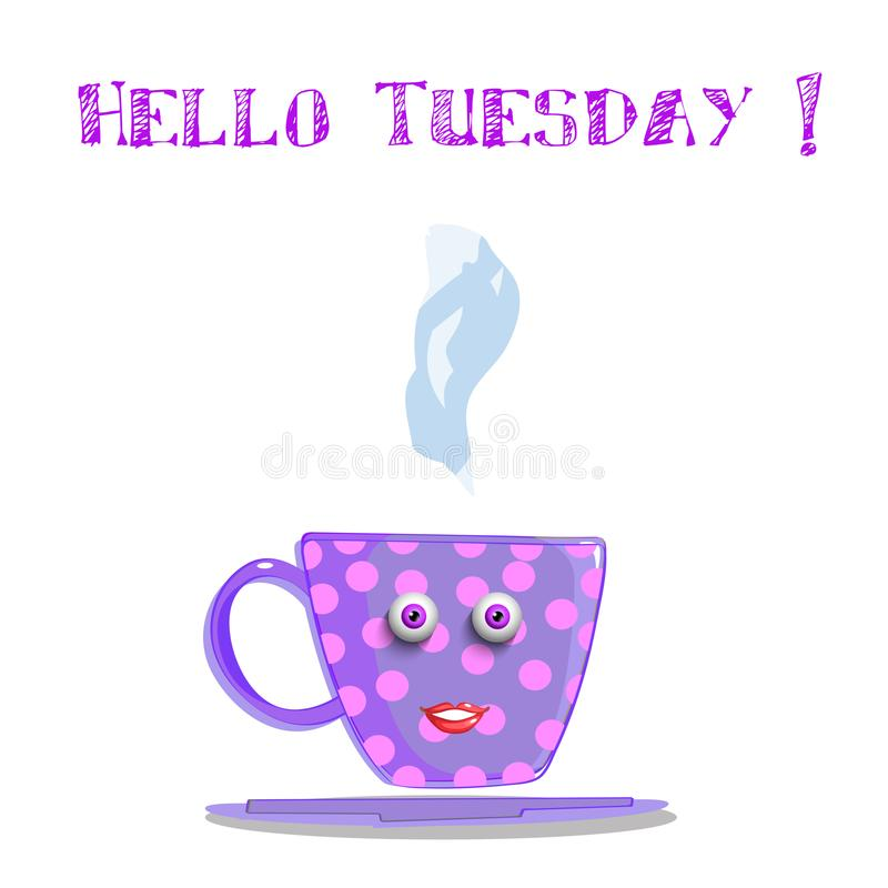 Чашка с розовыми точками польки, глаз милой сирени шаржа усмехаясь женская иллюстрация штока