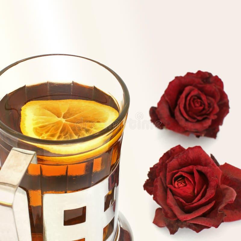 Чашка с чаем на белой предпосылке стоковые фотографии rf
