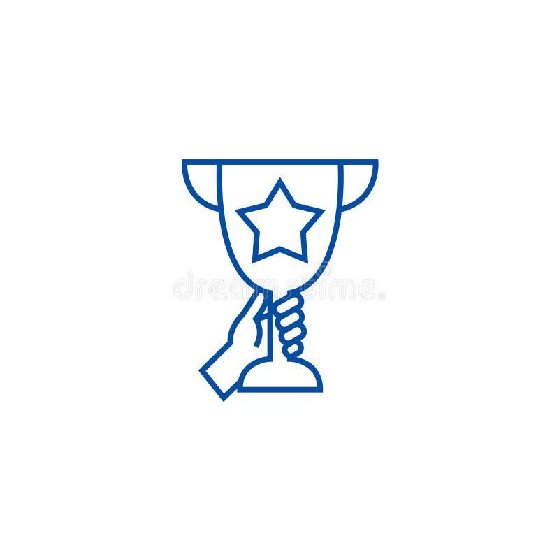 Чашка трофея в линии рук концепции значка Чашка трофея в символе вектора рук плоском, знаке, иллюстрации плана иллюстрация вектора