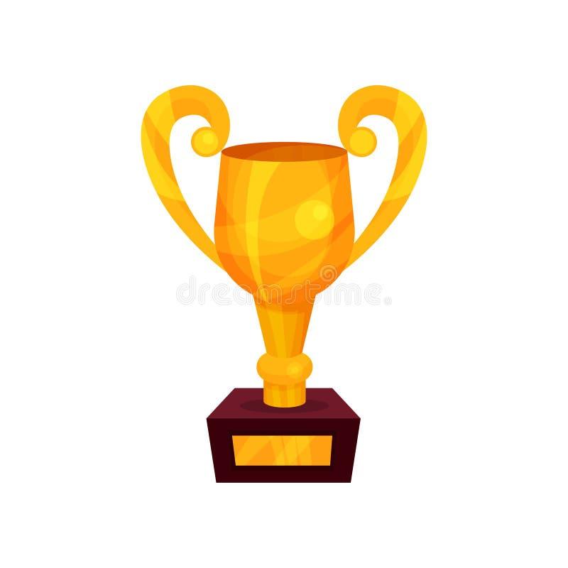 Чашка трофея золота, иллюстрация вектора шаржа золотого первого места призовая иллюстрация вектора