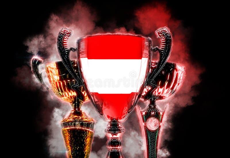 Чашка трофея текстурированная с флагом Австрии Иллюстрация цифров иллюстрация вектора